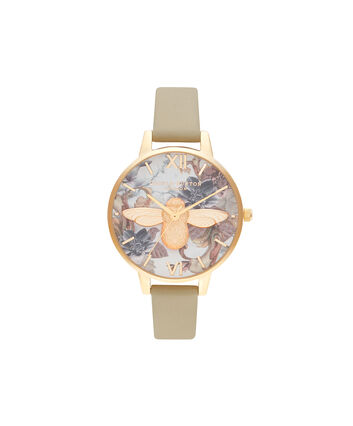 OLIVIA BURTON LONDON Cadran Demi 3D Bee sable et orOB16CS22 – Demi Cadran In Marrón And Or - Front view