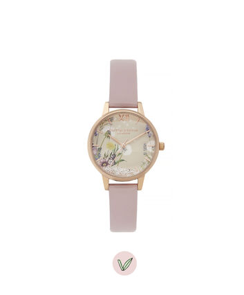 OLIVIA BURTON LONDON Wishing Watch Midi Vegan Rose Sand & Rose GoldOB16SG04 – Midi Dial in Pink and Rose Gold - Front view
