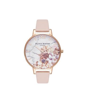OLIVIA BURTON LONDON  Armbanduhr Marble Floral in Nude Peach und Roségold OB16CS12 – Großes Zifferblatt in weiß und Nude Peach - Front view