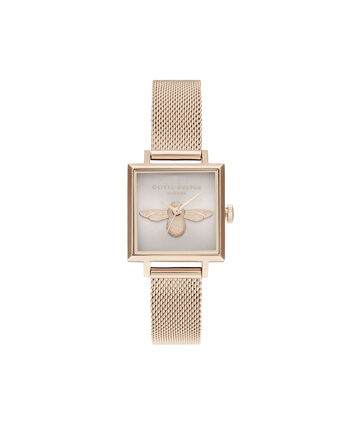 OLIVIA BURTON LONDON 3D Bee Square Dial Blush Sunray & Pale Rose GoldOB16AM164 – Demi Dial In Rose Gold And Rose Gold - Front view
