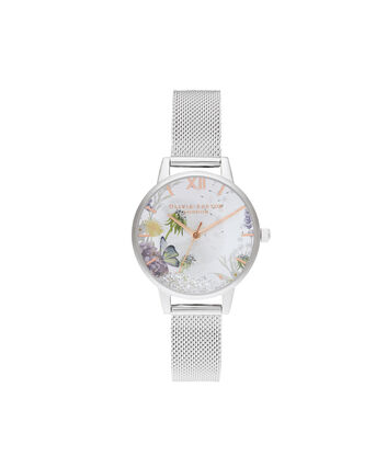 OLIVIA BURTON LONDON Wishing Watch Silver Sunray, Rose Gold & Silver MeshOB16SG03 – Midi Dial In Silver And Silver - Front view