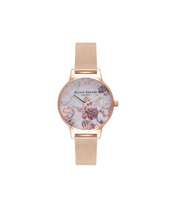 OLIVIA BURTON LONDON  Armbanduhr in Roségold mit Milanaise-ArmbandOB16CS06 – Mittelgroßes Zifferblatt in weiß und Roségold - Front view