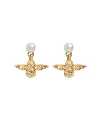 OLIVIA BURTON LONDON Perlenohrringe mit 3D-BieneOBJ16AME41 – Pearl Bee Stud Earrings - Front view