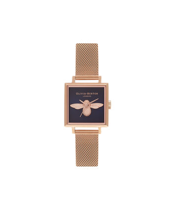 OLIVIA BURTON LONDON 3D BeeOB16AM96 – Midi Square Navy and Rose Gold - Front view