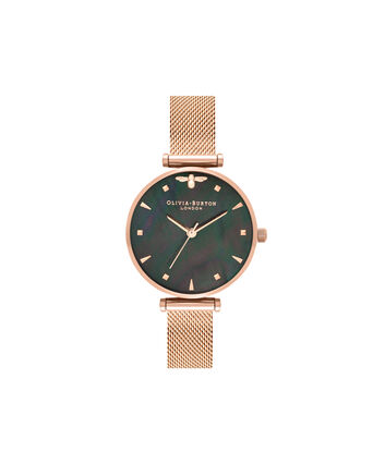 OLIVIA BURTON LONDON  Queen Bee Black Mother of Pearl Rose Gold Mesh OB16AM145 – Midi Dial Round in Rose Gold - Front view
