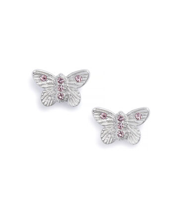OLIVIA BURTON LONDON Bejewelled Butterfly Earrings Silver & Pink StoneOBJ16MBE08 – Stud Earrings in  and Silver - Front view