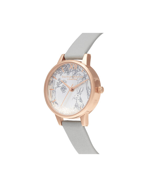 OLIVIA BURTON LONDON Snow Globe Grey & Rose GoldOB16SG06 – Midi Dial in Grey and Rose Gold - Side view
