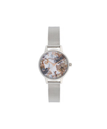 OLIVIA BURTON LONDON Marble Florals Midi Dial WatchOB16CS16 – Midi Dial in silver and Silver & Rose Gold - Front view
