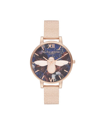 OLIVIA BURTON LONDON Big Dial 3D Bee Lapis Lazuli & Rose Gold Boucle MeshOB16SP11 – Big Dial in Rose Gold and Rose Gold - Front view