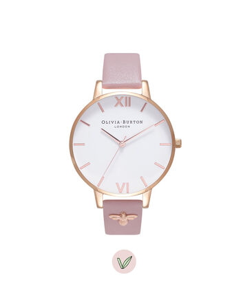 OLIVIA BURTON LONDON  3D Bee Embellished Strap Soft Rose & Rose Gold Watch OB16ES15 – Big Dial Round in White and Rose Gold - Front view